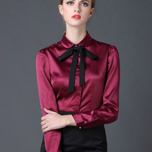 2017 new Satin Shirt Women Long sleeve peter pan collar silk Blouses women work wear uniform office OL shirt simple body tops(China)