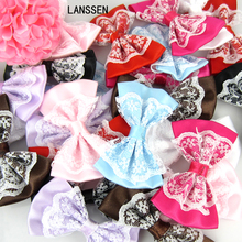 24pcs Lace Bowknot Flower Satin Ribbon Bowknot Flower For baby kids Headband Hair Accessories Sewing Craft Hair Bow 3.5 X 5.5cm(China)