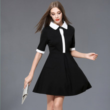 Recommended Goods Color Blocking Half Sleeves Dress For Women Spring 2017 New A-Line Mini Peter Pan Collar Women Dresses Q1593