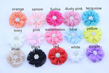 new product chiffon flower rhinestone for baby girl hair bow accessories for women girls hair accessories 30pcs/lot