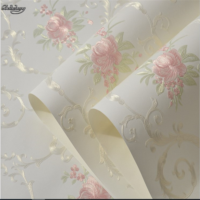 beibehang High-grade American country flowers non-woven wallpaper beige powder flower bedroom living room background wall paper<br>