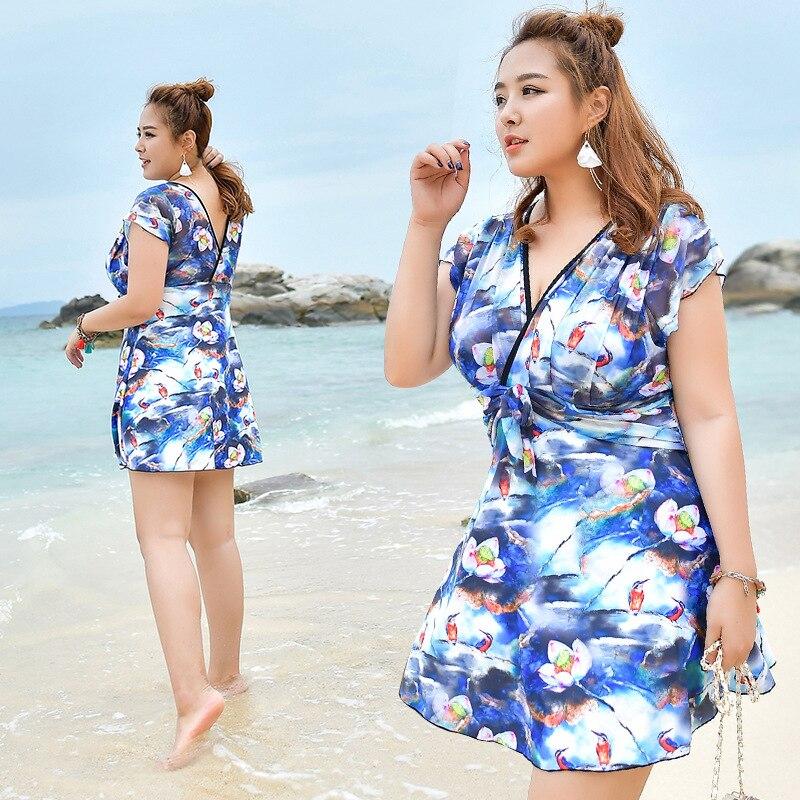 Swimwear Women 2017 One Piece Swimsuit Trikini Beachwear One-Piece Fat Printing Sexy Underwire Skirt Maillot De Bain Femme Une<br>
