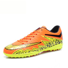 2016 Football Boots For Children Men Trainning Football Shoes Boy Kids Soccer Cleats Turf Sport Sneakers Orange Blue Men Cleats