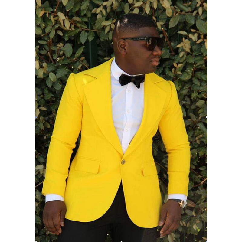 Fashion men's suit yellow lapel men's business office suite and groomsmen wedding dress 2 sets (jacket + pants) custom made