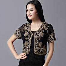 Fashion Lace Flower Covered Button Short Sleeved Sun Protective Clothing Embroidered Women Jacket MIN4617(China)