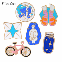 Bike Wishing bottle Riding Girl Shoes Origami Game Shoes Brooch Pins Childhood Button Pin Denim Jacket Pin Badge Gift Jewelry(China)