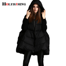 2017 fashion women down jackets cloak coats hooded loose warm outwear thick parka snow wear black s m l Holyrising(China)