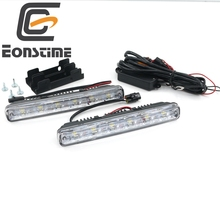 Eonstime 12V/24V 2pcs DC White 6LED DRL Car Light LED Daytime Running 6W Switch Waterproof Car Driving Fog Light Off function E4(China)