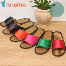 ToLaiToe Couples Summer Cool Bamboo Mat Leather Slipper Breathable Sweat Indoor Anti-skid Cool Slipper Shoes for Women/Men(China)