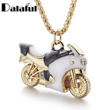 Motorcycle Autobike Enamel Crystal Necklaces & Pendants Long Necklace For Women X609(China)