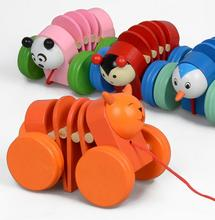 Toddler Pull Carts On Wheels With Cartoon Animal Wooden Educational Toys Dec27