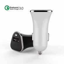 Qualcomm Certificated Universal Mobile Phone Car Charger QC3.0 15W Quick Fast USB Car Charger Adapter 9V 2.5A 5V 3A For Samsung