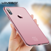 Lovebay Phone Case For Apple iPhone X 8 7 6s Plus 5s SE Bling Diamond Soft Transparent TPU Crystal For iPhone 6 Phone Case Cover(China)