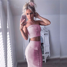 2017 Summer Women Suits Sets Tracksuits Velvet Pockets suede Sexy 2 Pieces costume (Tops+Skirts) Sleeveless New Year Women Suit