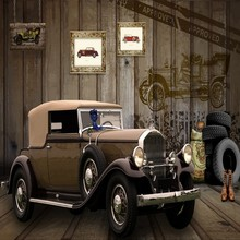 Custom photo wallpaper 3D Stereo Retro Master Car Custom Mural Background Wallpaper Entertainment Restaurant decoration(China)