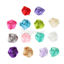 50Pcs/lot Mini Satin Roses Flowers Heads Rosette Flowers For Baby Headbands Hair Accessories 4CM