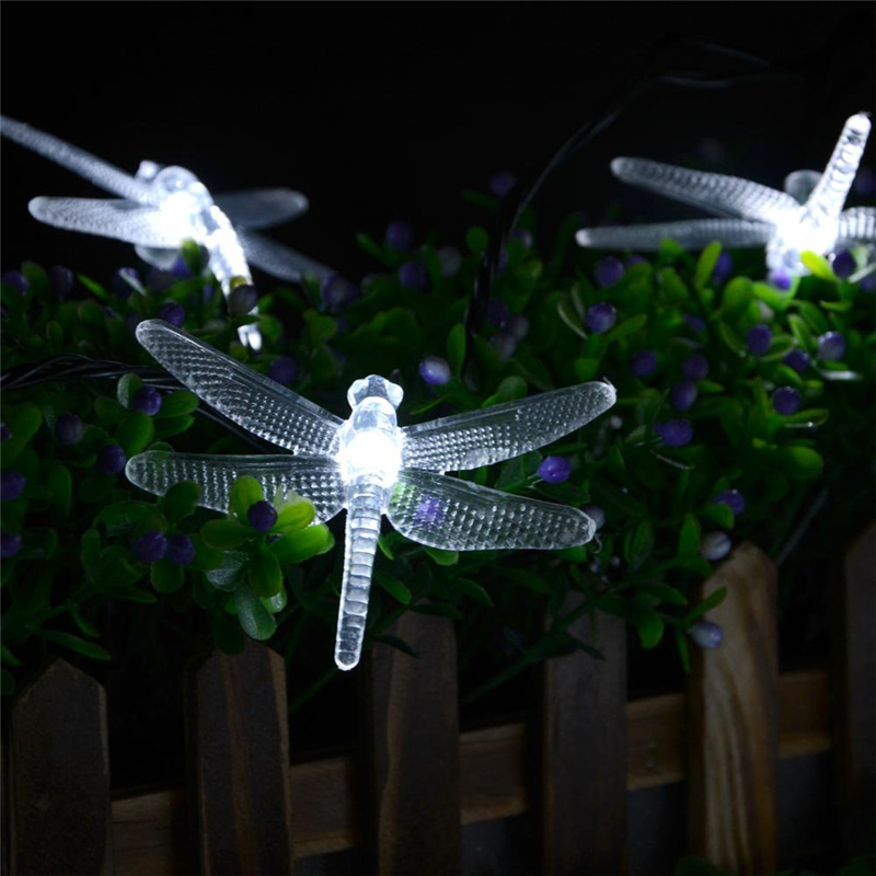 New lederTEK Solar Christmas Lights 19.7ft 6m 30 LED 8 Modes Solar Light String Dragonfly Solar Fairy String Lights for Outdoor(China (Mainland))