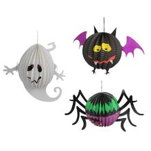 3 Pcs Halloween Paper Lanterns Three-dimensional Halloween Spooky Ghost Spider Bat Decoration(China)