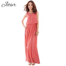 Buy Hot Sale 2017 New Summer Women Dress Bohemian Dress Solid Maxi Dress Chiffon Slim Fashion Clothes O-Neck Sleeveless Vestidos for $10.32 in AliExpress store