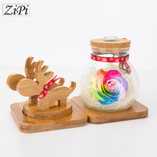 Zipi Home decoration Valentine 's Day gift deer wish bottle Preserved Fresh Flower remote control LED lights birthday gift(China)