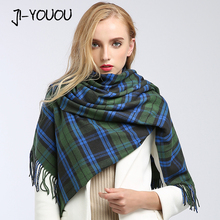 scarves women high fashion poncho winter plaid blanket ladies scarves twill silk scarf poncho and capes wool scarf women(China)