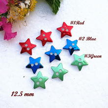 50pcs One / Mixed color Red blue green Star Christmas decorative buttons for sewing craft Diy Christmas Decorative Accessories