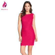 Vintage short bodycon cocktail party dress elegante mujeres robe de Oficina de Trabajo de soirée Hot Pink Lace 2017 Vestido De Festa