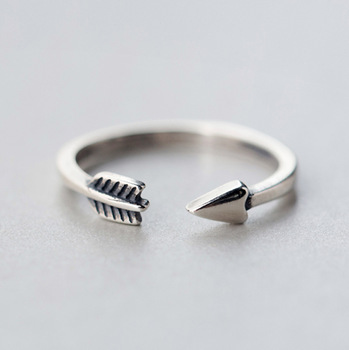 Kinitial 1Pcs New 925 Silver Adjustable Arrow Ring Feather Around knuckle Finger Ring for Women Bohemian Style Party Charm Gift