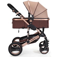 Luxury High View Baby Stroller Widen Aluminum Alloy Frame Baby Carriage Sit & Lie Down Pushchair Mother Preferred Foldable Pram