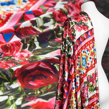 Couture fashion faux silk satin Chiffon Fabric,Digital colorful Geometric Floral,,smooth,soft,Sewing,Dress,Craft by the piece