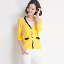 Casual New Sweater Women Cardigan Knitted Sweater Coat Long Sleeve Crochet Female Casual V-Neck Short Woman Cardigans Tops(China)