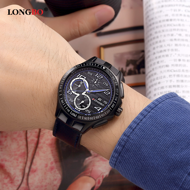 LONGBO Luxury Brand Men Leather Watch Sports Quartz Watches For Men Male Leisure Clock Military Watch Relogio Masculino 80200<br><br>Aliexpress