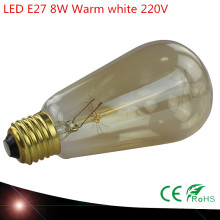 2X E27 220V ST64 Vintage Led Lamp Retro LED Filament Light Bulb Glass Edison Lamparas 8W Gold Decoration - QBJJ store