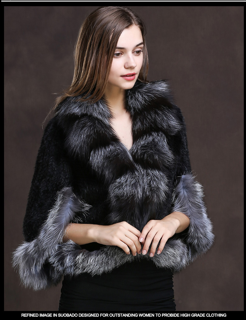 Winter Shawl Wrap Poncho Real Knit Mink Fur shawl With Fox Trimming Real fur Jacket coats party 2017 new (14)