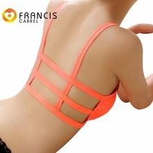 Women Soid Breathable Seamless Bra Tops Orange Hollowed Backless Female Strappy Casuale Underwear Push Up Bralette Girls Newest