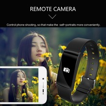 Sports Smart Wristband OLED Screen Sleep Tracker USB Smartband Heart Rate Monitor Remote Camera Wristbands For iOS Android Phone(China)
