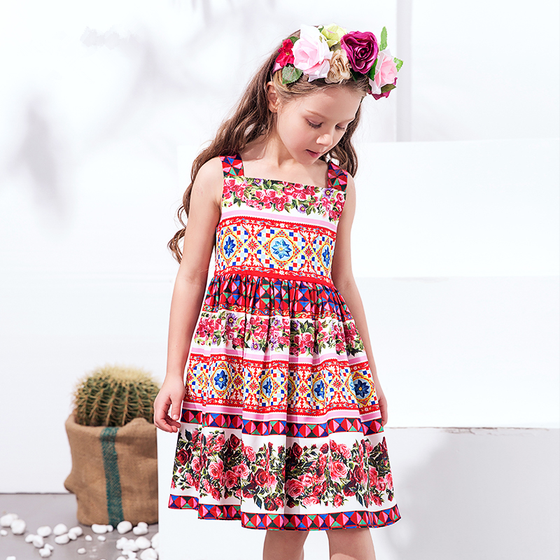 Princess Dress Vestido Infantil 2017 Summer Girls Party Dress Children Corretto Con Rose Dresses Kids Clothes<br>