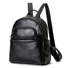 2017 Genuine Leather Women's Backpack Luxury Brands Natural Real Cow Leather Backpacks Cowhide Woman Backpack Tote Bags Mochila(China)
