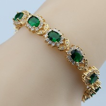 Flower White Zircon &Green Created Emerald  Bracelet Health Fashion  Jewelry For Women Free Jewelry Box SK16