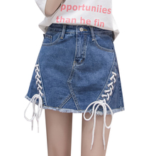 Buy 2018 New Blue Black Bandage Denim Skirt Women Sexy Mini Skirts Shorts Fashion Frayed Tassel Pockets High Waist Jeans Saia Faldas for $15.99 in AliExpress store