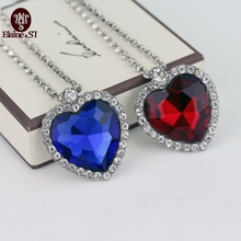 Free Shipping For 1 Pcs Classics Luxury Titanic Heart Of Ocean 4*3.8Cm Blue Crystal Rhinestone Heart Pendant Necklace Women Gift
