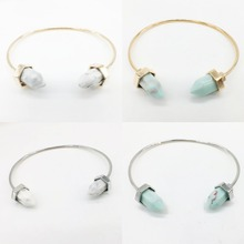 H:HYDE Natural Stone Spike Cuff bracelet banglesCopper gold color White Stone Frienship Bracelets for Women Jewelry(China)