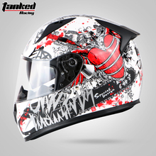 Tanked Racing Motorcycle Full face helmet dual lens anti-fog motorbike motorcross racing helmet Casco Capacete protective ECE(China)