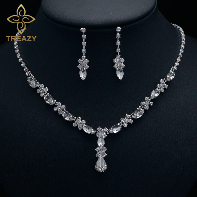 TREAZY Jewelry-Set Necklace Crystal Women Accessories Waterdrop Wedding-Bridal Floral title=