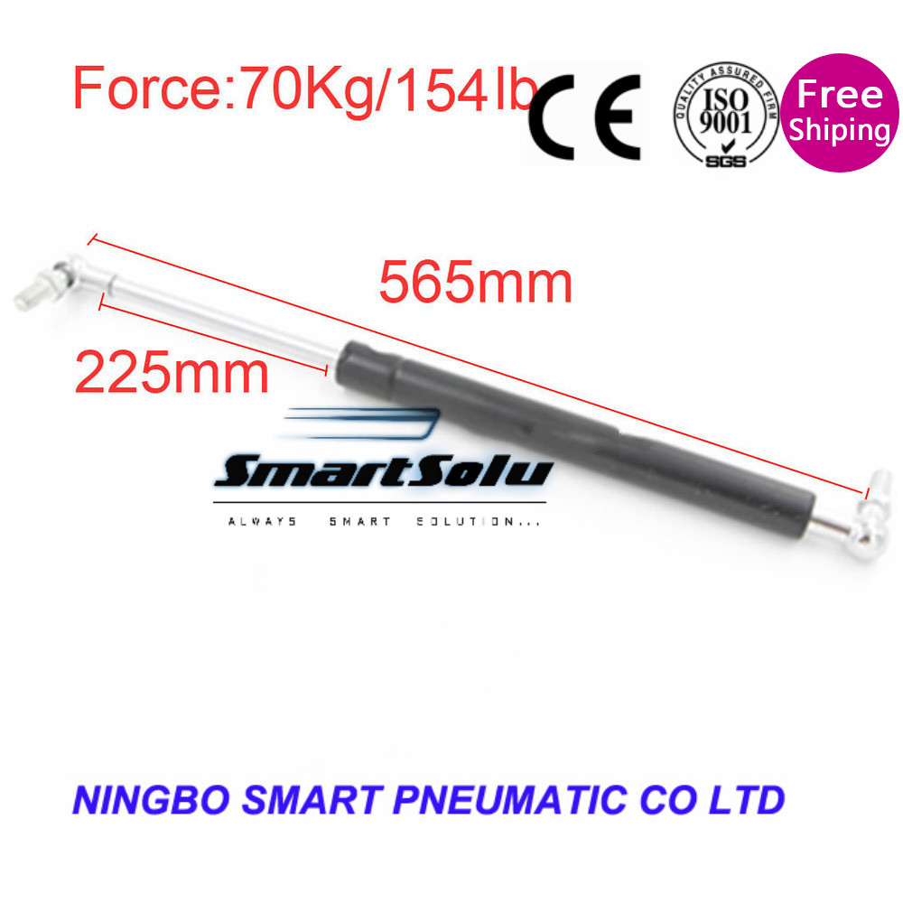 free shipping 70kg/ 154 Lbs Force 225mm Long Stroke M8 Ball End Lift Support Auto Gas Spring 565mm<br>