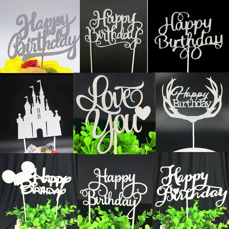 Happy Birthday Cake Topper Flags Party Decor Love you Paper Glitter Cupcake Cake Topper Baby Shower Party Baking Decor Kids