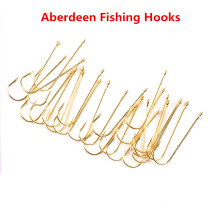 100pcs Shank Aberdeen Fishing Hooks Fresh Water Living Baits Hook Fish Jig Hooks PanFish Crappie Fishing Tackle Hook Gold