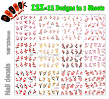 Nail Art(Large Piece SY1473-1484 12 DESIGNS IN 1) Red Plum Blossom Flower Nail Art Water Sticker Decal for Nail Art(China)