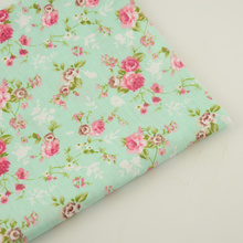 Bedding Twill 100% Cotton Fabric Green Printed Floral Designs Home Textile Decoration Tecido Sewing Cloth Fabric Quilting Tela(China)