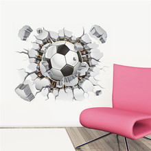 3d Football Soccer Broken Wall Hole view home decal wall stickers print poster for kids room sport boys bedroom decorative mural(China)